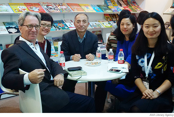 Team Chief Editor Bai Bing Foreign Rights Director Solene Xie And Manager Olivia Wang At The China Shanghai International Childrens Book